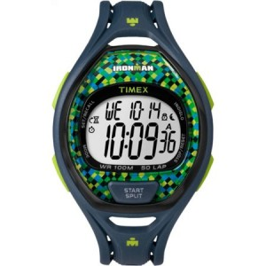 Timex Ironman Sleek 50 Full-Size Blue/Lime Watch, Resin Strap