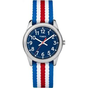 Timex Boys Time Machines Red/White/Blue Stripe Metal Watch, Nylon Strap