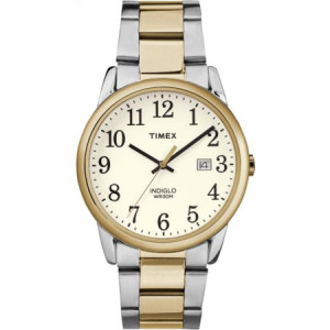 Timex Men's Easy-Reader White Dial Watch, Two-Tone Stainless Steel Bracelet