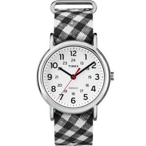 Timex Women's Weekender Watch, Black Gingham Nylon Slip-Thru Strap