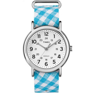 Timex Women's Weekender Watch, Teal Gingham Nylon Slip-Thru Strap