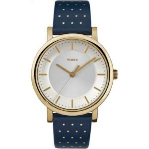 Timex Women's Originals Gold-Tone Watch, Blue Leather Strap