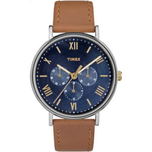 Timex Unisex Southview 41 Multifunction Blue/Silver-Tone Watch, Tan Leather Strap