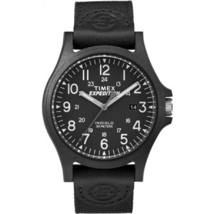 Timex Men's Expedition Acadia Black Watch, Leather/Nylon Strap