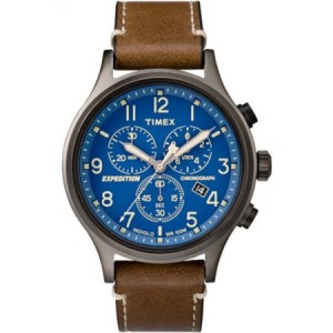 Timex Men's Expedition Scout Chrono Brown/Blue Watch, Leather Strap