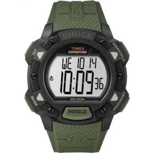 Timex Men's Expedition Base Shock Green/Black Watch, Resin Strap