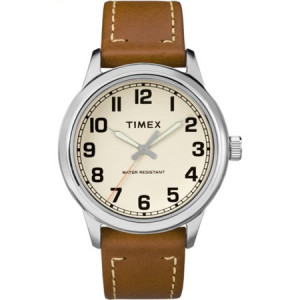 Timex Men's New England Cream Dial Watch, Tan Leather Strap