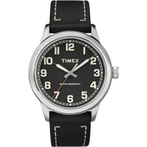 Timex Men's New England Black Dial Watch, Black Leather Strap