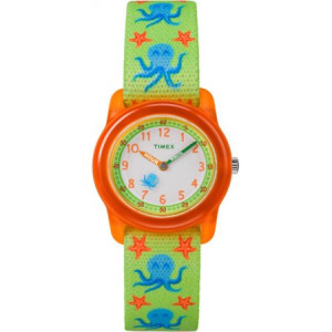 Timex Boys Time Machines Green/Orange Octopus Watch, Elastic Fabric Strap