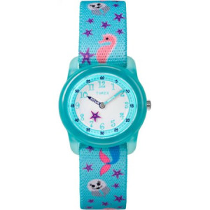 Timex Girls Time Machines Teal Sea Watch, Elastic Fabric Strap