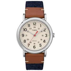 Timex Unisex Weekender Blue/Brown/Cream Watch, Fabric & Leather Strap