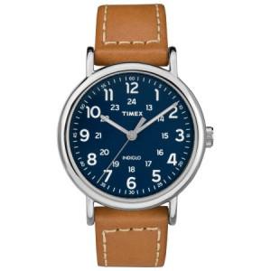 Timex Men's Weekender 40 Brown/Blue Watch, Leather Strap