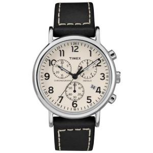 Timex Men's Weekender Chrono Black/Cream Watch, Leather Strap
