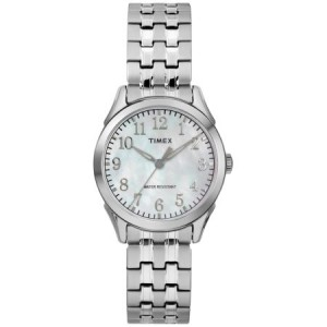 Timex Women's Briarwood Silver-Tone/MOP Watch, Stainless Steel Expansion Band