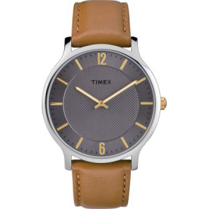 Timex Men's Metropolitan 40mm Brown/Gray Watch, Leather Strap