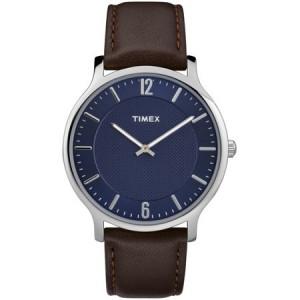 Timex Men's Metropolitan 40mm Brown/Blue Watch, Leather Strap