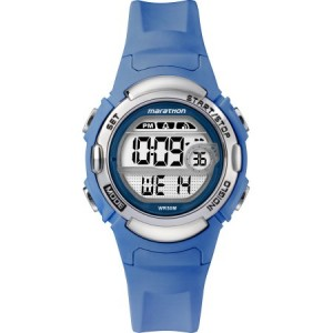 Marathon by Timex Women's Digital Mid-Size Blue/Silver-Tone Watch, Resin Strap