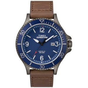 Timex Men's Expedition Ranger Brown/Gunmetal/Blue Watch, Leather Strap