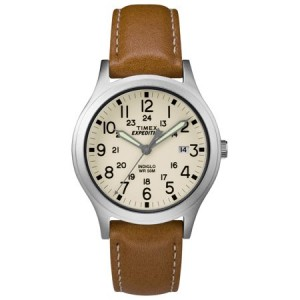 Timex Expedition Scout 36 Tan/Silver/Natural Watch, Leather Strap