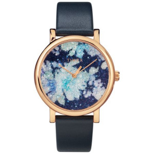 Timex Women's Crystal Bloom Blue/Rose Gold Floral Watch, Leather Strap
