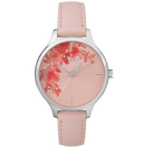 Timex Women's Crystal Bloom Pink/Silver Floral Accent Watch, Leather Strap