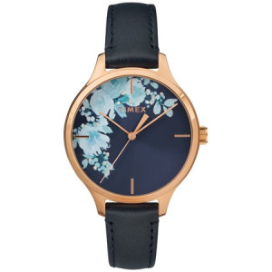 Timex Women's Crystal Bloom Blue/Rose Gold Floral Accent Watch, Leather Strap