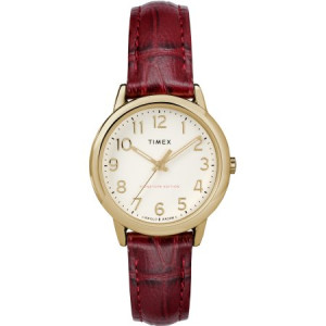 Timex Women's Easy Reader Signature Burgundy/Cream Watch, Leather Strap