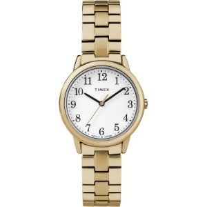 Timex Women's Easy Reader Small Gold-Tone/White Watch, Stainless Steel Expansion Band