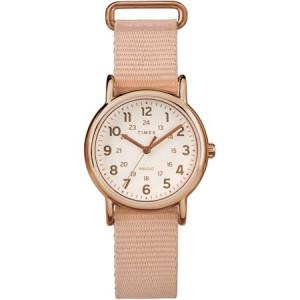 Timex Women's Weekender 31 Pink/Rose Gold-Tone Watch, Nylon Slip-Thru Strap