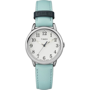 Timex Women's Easy Reader Small Blue/Silver-Tone Watch, Leather Strap