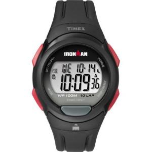 Timex Men's Ironman Essential 10 Black/Red Watch, Resin Strap