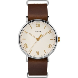 Timex Men's Southview 41 Brown/Cream Watch, Leather Strap