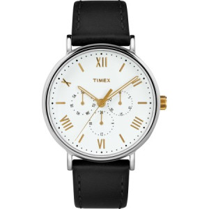 Timex Men's Southview 41 Multifunction Black/White Watch, Leather Strap