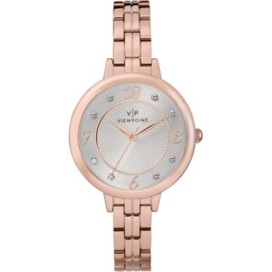 Viewpoint by Timex Women's 34mm Silver-Tone Dial Watch, Rose Gold-Tone Bracelet