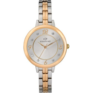 Viewpoint by Timex Women's 34mm Silver-Tone Dial Watch, Two-Tone Bracelet