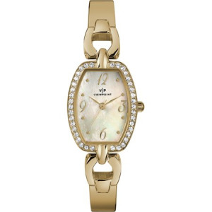 Viewpoint by Timex Women's 25mm Mother-of-Pearl Dial Watch, Gold-Tone Bracelet