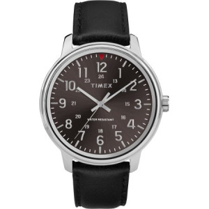Timex Men's Core 43mm Black/Silver-Tone Watch, Black Leather Strap