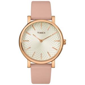 Timex Women's Metropolitan 34mm Blush/Rose Gold-Tone Watch, Leather Strap