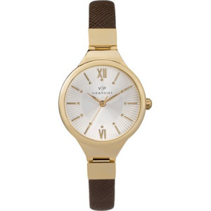 Viewpoint by Timex Women's 30mm Two-Tone Dial Watch, Brown Strap