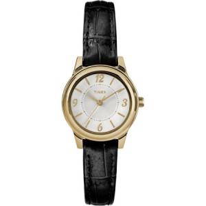 Timex Women's Core 26mm Gold-Tone/Silver-Tone Watch, Black Croco Pattern Leather Strap