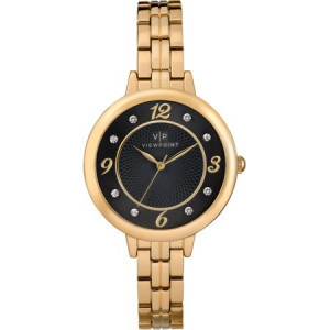 Viewpoint by Timex Women's 33mm Black Dial Watch, Gold-Tone Bracelet