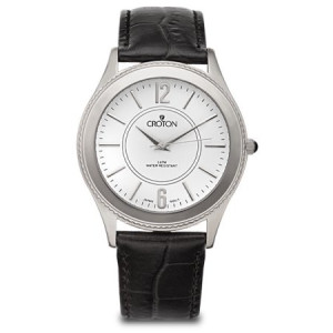 Croton Men's Stainless Silvertone Dress Watch w/White Dial & Black Leather Strap