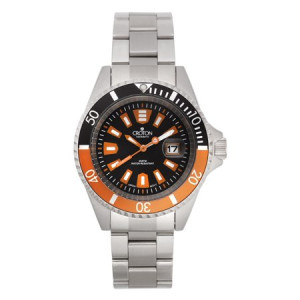 Croton Men's All Stainless Black Dial Quartz Watch with Black & Orange Rotating Bezel & Magnified Date