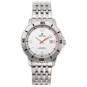 "Croton Men's ""Aquamatic"" Stainless Steel Silver Dial Sport Watch with Date"