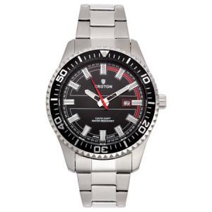 "Croton Men's ""Aquamatic"" Silvertone Stainless Black Dial Quartz Watch"