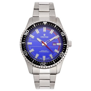 "Croton Men's ""Aquamatic"" Silvertone Stainless Blue Dial Quartz Watch"
