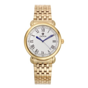 """Croton Men's """"Heritage"""" Goldtone Stainless Bracelet Watch with White Dial"""
