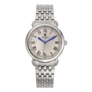 "Croton Men's ""Heritage"" Silvertone Stainless Bracelet Watch with Silver Dial"