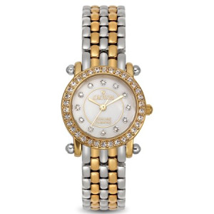 Croton Ladies Two Tone Quartz Watch with Mother of Pearl Dial & Diamond Markers