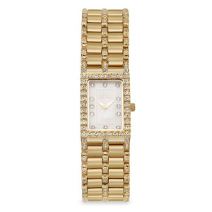Croton Ladies Rectangular Goldtone Quartz Watch with Mother of Pearl Dial & Diamond Markers